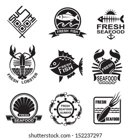 set of nine monochrome seafood icons
