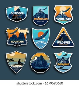Set of nine mountain travel emblems. Camping outdoor adventure emblems, badges and logo patches.