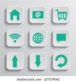 Set of nine paper app buttons. Vector icons.