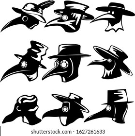 Set of nine plague doctors in black and white style. Hat, cloak, and plague mask. Vector illustration.