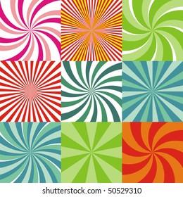 Set of nine radiant backgrounds