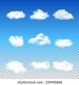 Set of nine realistic transparent different clouds. Vector EPS10 illustration.