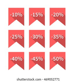 A set of nine red labels discounts of ten to fifty percent in steps of five, long diagonal shadow and flat style, vector illustration.