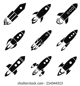 Set of nine rocket or spaceship icons isolated on white. Travel or science exploration concept. Start up new business project vector illustration