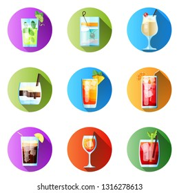 Set of Nine Round Icons with Long ShadowTropical Cocktails in Flat Style for Menu, Cocktail Cards. Mojito, Tom Collins, Pina Colada, White Russian, Mai Tai, Sea Breeze, Long Island. Vector Images Isol