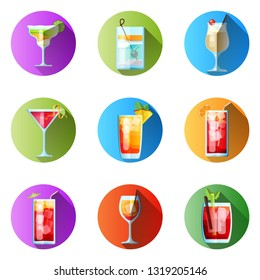 Set of Nine Round Icons with Long Shadow Tropical Cocktails in Flat Style for Menu, Cocktail Cards. Margarita, Tom Collins, Pina Colada, Cosmopolitan, Mai Tai, Sea Breeze, Tequila Sunrise, Spritz, Blo