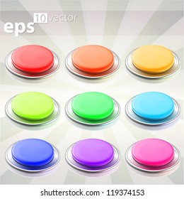 Set of nine round push eps10 vector buttons with chrome metal edging