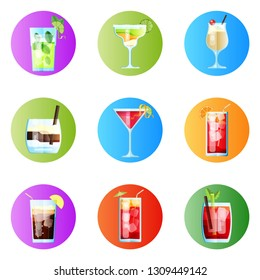 Set of Nine Rounded Images Tropical Cocktails in Flat Style for Menu, Cocktail Cards. Mojito, Margarita, Pina Colada, White Russian, Cosmopolitan, Sea Breeze, Long Island.