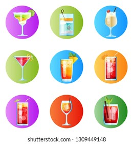 Set of Nine Rounded Images Tropical Cocktails in Flat Style for Menu, Cocktail Cards. Margarita, Tom Collins, Pina Colada, Cosmopolitan, Mai Tai, Sea Breeze, Tequila Sunrise, Spritz, Blood Mary.