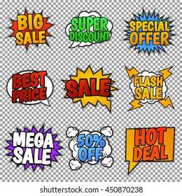 Set of nine sale tags. Pop art style, speech bubbles. Vector, isolated, eps 10.