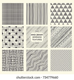 Set of nine seamless hand drawn texture designs for backgrounds. Doodle pattern. vector illustration.