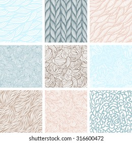 Set of nine seamless patterns, wave background, vector illustration