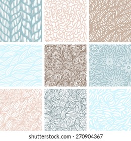 Set of nine seamless patterns, waves background, vector illustration