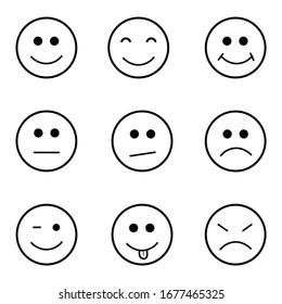 Set Of Nine Smile Face