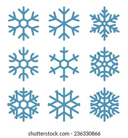 Set of Nine Snowflakes thin line flat design vector illustration