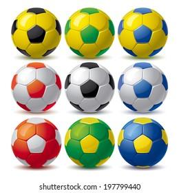 set of nine soccer balls in different colors