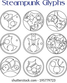 Set of nine steampunk themed glyphs for use in sci-fi or fantasy settings