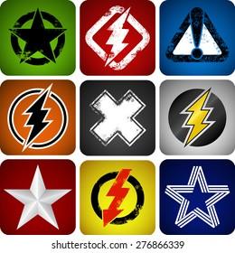 Set of nine symbols on squares