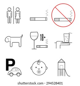 Set of nine thin line icons and bans for restaurants.