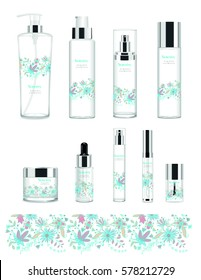 Set of nine transparent cosmetic tubes with design. Vector