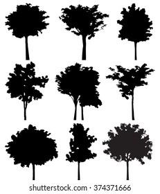 Set of nine trees vector silhouette