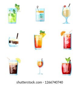 Set of Nine Tropical Cocktails in Flat Style for Menu, Cocktail Cards. Mojito, Tom Collins, Pina Colada, White Russian, Mai Tai, Sea Breeze, Long Island. Vector Images Isolated on White Background