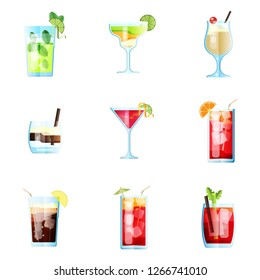 Set of Nine Tropical Cocktails in Flat Style for Menu, Cocktail Cards. Mojito, Margarita, Pina Colada, White Russian, Cosmopolitan, Sea Breeze, Long Island. Vector Images Isolated on White Background
