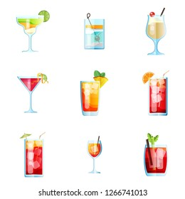 Set of Nine Tropical Cocktails in Flat Style for Menu, Cocktail Cards. Margarita, Tom Collins, Pina Colada, Cosmopolitan, Mai Tai, Sea Breeze, Tequila Sunrise. Vector Images Isolated on White Backgrou