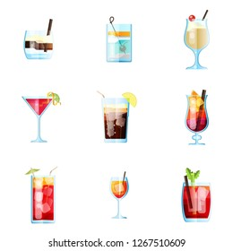 Set of Nine Tropical Cocktails in Flat Style for Menu, Cocktail Cards. White Russian, Tom Collins, Pina Colada, Cosmopolitan, Long Island, Bahama Mama. Vector Images Isolated on White Background
