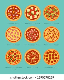 Set of nine types of pizza: BBQ Chicken, Hawaiian, Margherita, Meat Feast, Napoli, Pepperoni, Seafood, Vegetarian, Sausage-and-olives Pizzas. Flat style vector illustration.