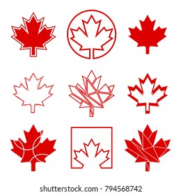 A set of nine unique maple leaf designs. These custom Canadian graphics are available in vector format.