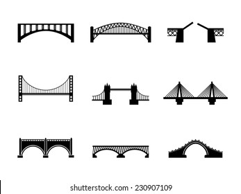 Set of nine vector bridge icons. Black and white transportation illustration isolated. Urban construction silhouettes
