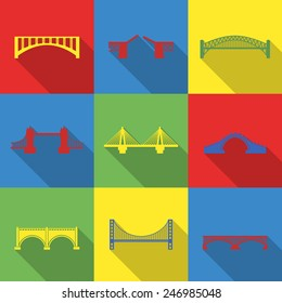 Set of nine vector bridge icons. Colored transportation illustration isolated. Urban construction silhouettes