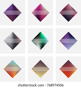 Set of nine vector colorful abstract diamond shaped labels and banners