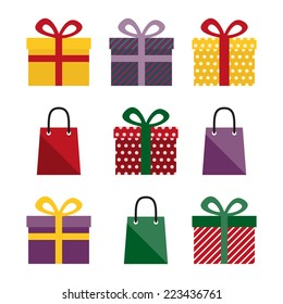 Set of nine vector colorful presents and gift bags.