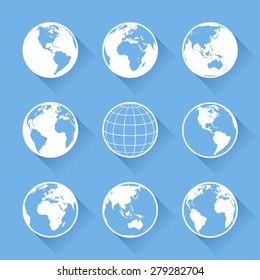 Set of nine vector globe icons with four views of the earth, with great detail.