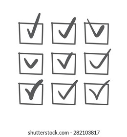 Set of nine vector hand drawn check marks or sketch ticks in boxes on a list