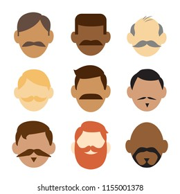 Set of nine vector icons of mens' faces with mustaches