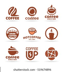 Set of nine vector labels, badges, emblems and logo templates  for coffee shop, cafe, restaurant. Coffee logo design elements (4)