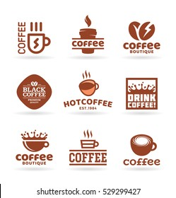 Set of nine vector labels, badges, emblems and logo templates for coffee shop, cafe, restaurant. Coffee logo design elements (5)