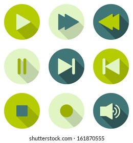 Set of nine vector media player icons with long shadows.