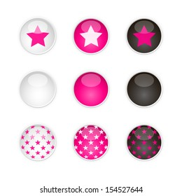 Set of nine vector round buttons in white, pink and black with star's pattern and also basic without any pattern./Stars buttons/Stars buttons.