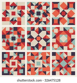 Set of Nine Vector Seamless Blue Red Orange Retro Geometric Ethnic Square Quilt Pattern Collection Background Elements