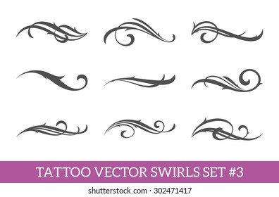 Set of nine vector tattoo style swirls for cool art or text decoration. Calligraphic flourishes collection.