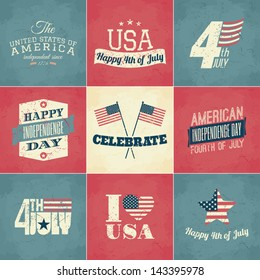 A set of nine vintage greeting cards for the American Independence Day.