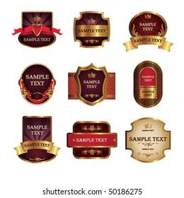 Set from nine vintage labels.