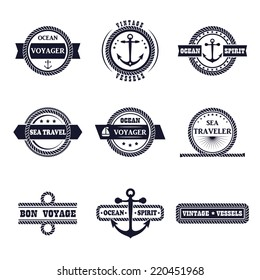 Set of nine vintage marine stamps isolated on white. Vector retro nautical anchor badges. Ocean graphic logo. Rope design borders. Travel emblem. Sailor symbol. Sea cruise illustration.