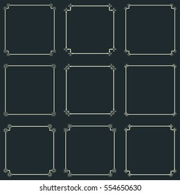 Set of nine vintage square frames. Vector image.