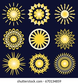 Set of nine yellow icons of the sun, isolated on dark blue background.