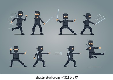 Set of ninja characters showing different actions. Confident ninja with sword running, attacking, throwing star, jumping, kicking, hitting. Simple style vector illustration